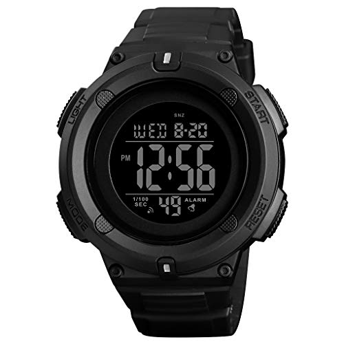 Men's Digital Sports Watch LED Screen Large Face Military Watches and 50m Waterproof Stopwatch Alarm Simple Army Watch - Black