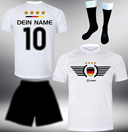 DE-Fanshop Deutschland Trikot Set 2018 mit Hose & Stutzen GRATIS Wunschname + Nummer im EM WM Weiss Typ #DE2ths - Geschenke für Kinder Erw. Jungen Baby Fußball T-Shirt Bedrucken