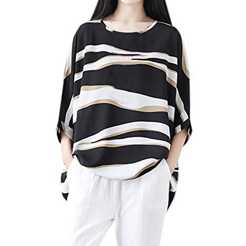 Xmiral Donna Camicetta Blusa Elegante T-Shirt Crop Top Ragazza Moda Maglia Maglione Pullover Elegante Camicetta Magliette Maglietta Donna Tops Stripe Loose XXL Nero