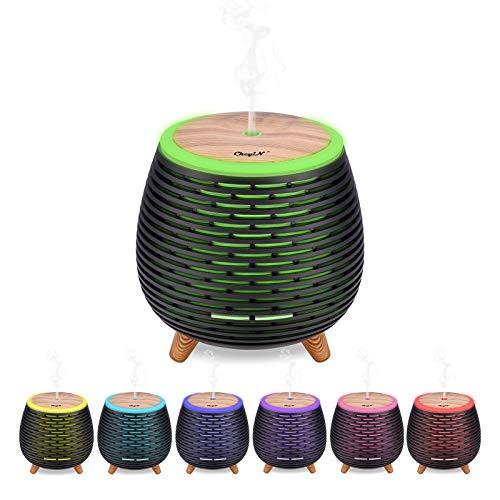Mini diffuseur d'huiles,CkeyiN Essentielles Humidificateur Portable à brume fraîche et mode de brume réglable, arrêt automatique si absence d'eau Avec 7 veilleuses LED qui changent de couleur (Noir)