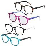ZENOTTIC 4 Pack Blue Light Blocking Round Reading Glasses,Anti Headache/Eye Strain Readers Computer Eyeglasses Women/Men