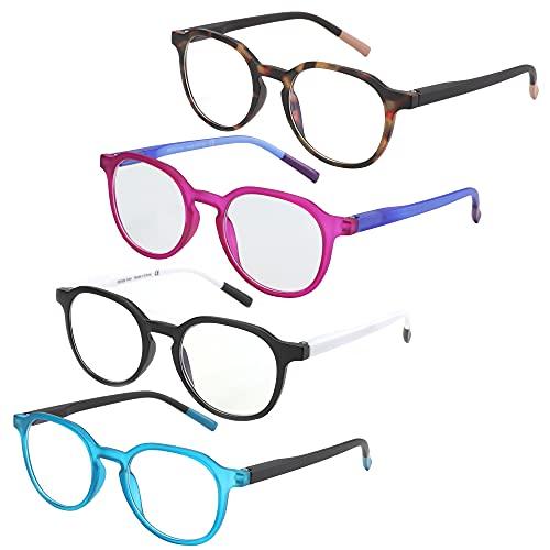 ZENOTTIC - Paquete de 4 anteojos de lectura redondos con bloqueo de luz azul, antidolor de cabeza/deslumbramiento/anteojos para ordenador