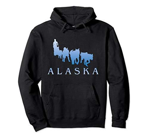 Alaska Sled Dogs Mushing Team Snow Sledding Mountain Scene Pullover Hoodie