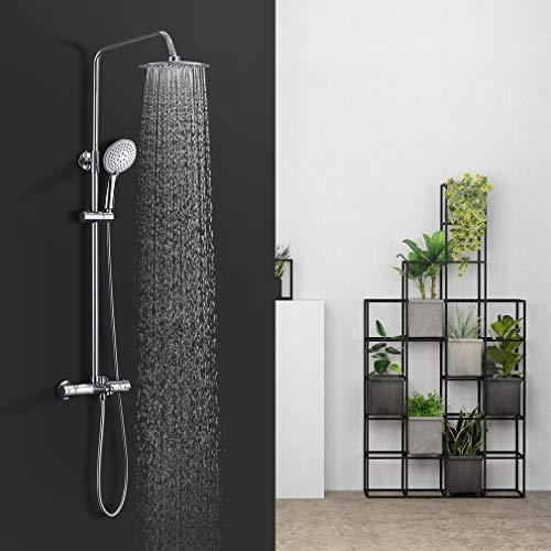 BONADE Thermostat Duschsystem mit 38 °C Sicherheitssperre Brausethermostat Duscharmatur Überkopf- und Handbrause Duschkopf Duschsäule aus Edelstahl Duschset Regendusche für Badewannen