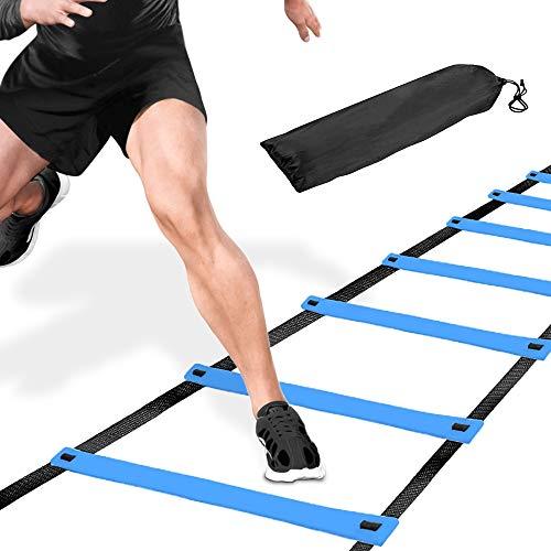 MEEQIAO Escalera de coordinación, 6m Juego de escaleras de Entrenamiento, Agility Ladder con peldaños robustos para Entrenamiento de coordinación, fútbol y Baloncesto (Azul,6M)