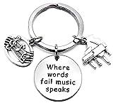 Piano Keychain Music Keyring Piano Teacher Key Chain Music Teacher Gift Music Note Musical Instrument Piano Keyboard Charm Music Student Gift Where Words Fail Music Speaks Key Ring