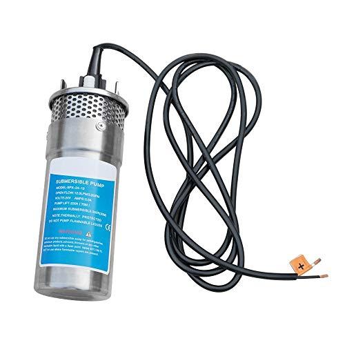 HUKOER 24V Stainless Shell Tauchwasserpumpe 3.2GPM 5A 12L Tiefbrunnenwasser DC-Pumpe Solarwasserpumpe/Alternative Energy Solarbatterie 230 \'/ 70m Hub