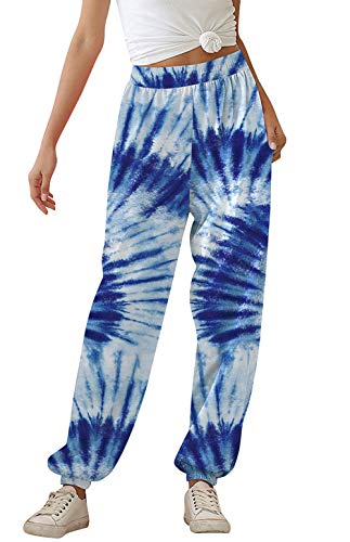 uideazone Women's Track Pants Hight Waist Jogger Sweatpants Tie Dye Loose Straight Lounge Running Workout Legging with Pockets Dark Blue