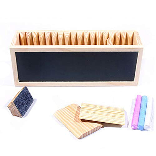 Caja De Almacenamiento De Escritorio Escritorio De Madera Cuaderno Organizador Lindo Organizador De Caja De Lápiz De Pluma De Madera Con Mini Pizarra De Tiza,Wood