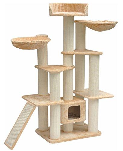 nanook Kratzbaum XXL Diamond - für große Katzen - standfest - mit großer Liegemulde und Höhle für Katzen - beige - 163 x 125 x 60 cm