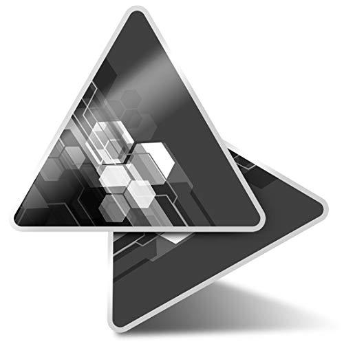 2 pegatinas triangulares de 7,5 cm – BW – Pegatinas divertidas para ordenadores portátiles, tabletas, equipaje, reserva de chatarra, neveras #35541