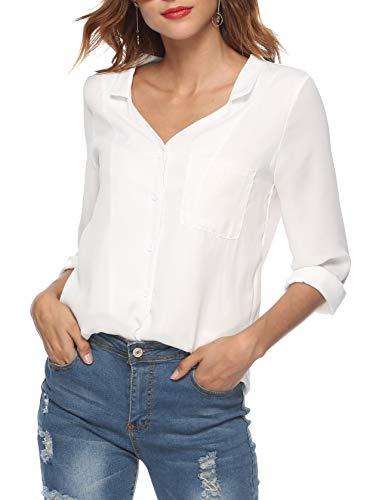 SIRUITON Bluse Damen Elegant V-Ausschnitt Lose Lange Ärmel Hemd mit Tasche Weiß Medium(DE38-40)
