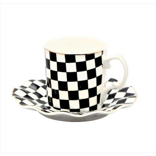 Porcelain China Espresso or Turkish Coffee Demitasse Set of 6 Delicate Cups and Saucers (Classic Checkered Flag)