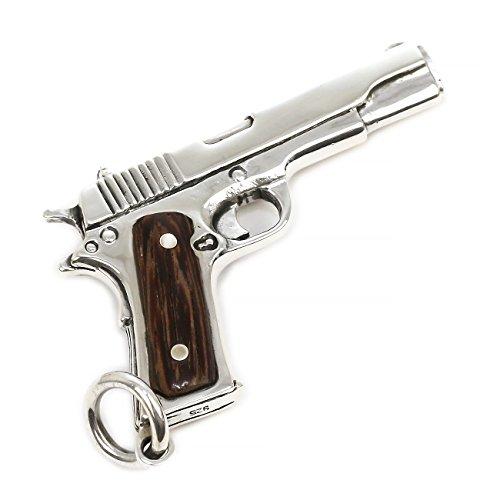 ジナブリング (JINA BRING) ハード ペンダント シルバー925 自動拳銃モチーフ コルトガバメント 木製 ウッド グリップピストル 鉄砲 ペンダント メンズ レディース