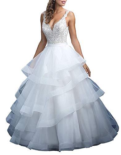 Dreammaking Sexy Damen V-Ausschnitt Ballkleid Organza Hochzeitskleider Prinzessin Brautkleid Schnürsenkel zurück Brautkleider Standesamt