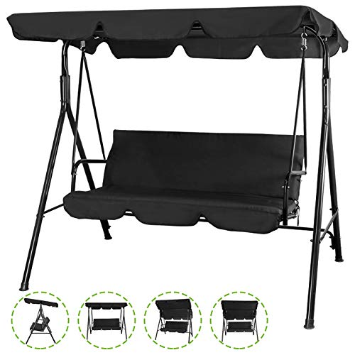 Flex HQ Patio Porch Swing Chair Canopy Outdoor Lounge 3-Person Seat Hang Bench Hammock (Black)