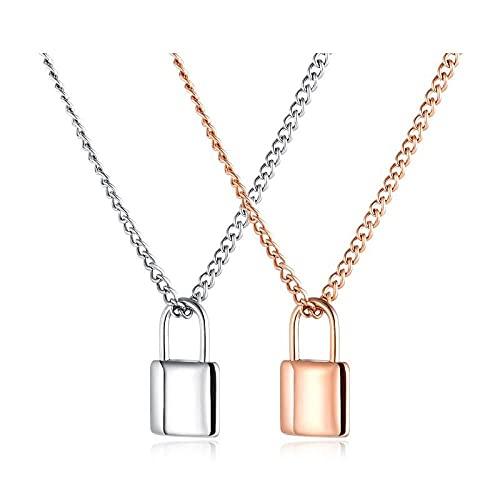 Gargantilla colgante, collar de acero de titanio chapado en oro rosa, cadena de clavícula simple para mujer, accesorio colgante de candado
