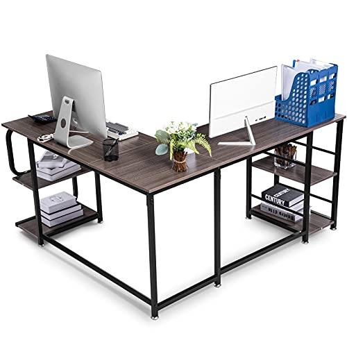 Escritorio de esquina en forma de L de 19,2 cm, para ordenador de esquina, con 2 marcos de almacenamiento ajustables, para oficina en casa, estudio, sala de estar