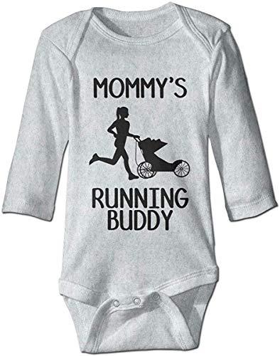 PXMU Mommy's Running Buddy Funny Romper Baby Girls Onesie Jumpsuit Gray