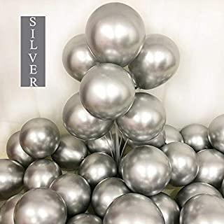 Chrome Sliver Balloons 12inch 50pcs Latex Balloons Metallic Party Balloons Birthday Helium Balloons