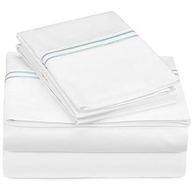 Pinzon 400-Thread-Count Egyptian Cotton Sateen Hotel Stitch Sheet Set - Queen, Silver Blue