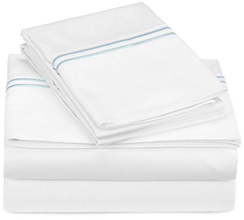 Pinzon 400-Thread-Count Egyptian Cotton Sateen Hotel Stitch Sheet Set - Queen, Silver Blue