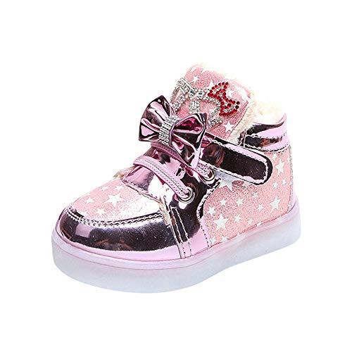 Babyschuhe,Kinder Kind Sterne Bowknot Crystal Mesh Led Licht leuchtende Turnschuhe Schuhe,Binggong Baby LED Schuhe