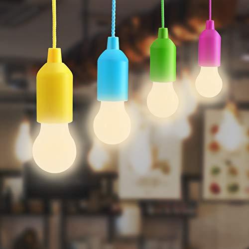 Lightess 4er Pull LightLampe Ziehlampe Tragbare LED Leuchte Colors Glühbirnen Wasrmweiss Campinglampe Dekoratives Licht Pendelleuchte für Party Garten Schuppen Zelt Camping Kleiderschrank