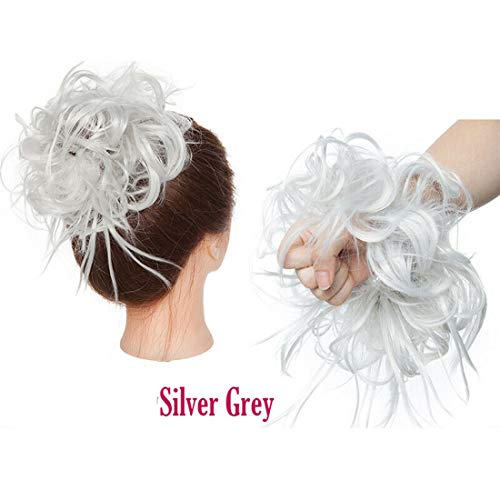 Fashion Tousled Hair Extensions Hairpiece Scrunchie Straight Elastic updo Scrunchy BUN Brown Blonde Instant Ponytail wig Hairdo Silver Grey