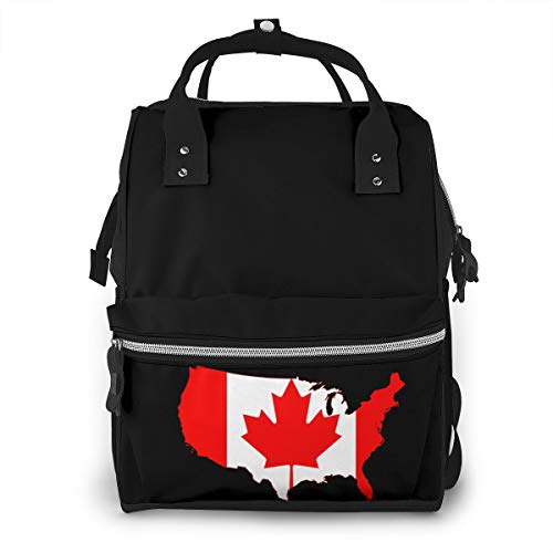 Description Flag Map Of American Canada Baby Diaper Bag Backpack,Multi-Function Waterproof Large Capacity Travel Nappy Bags For Mom