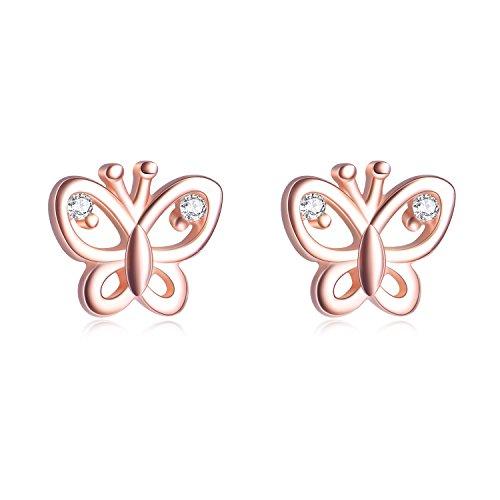 Ohrringe Schmetterling Ohrstecker aus 925 Sterling Silber und Zirkonia Steinen mit Rhodium, Rosegold oder 750er Gelbgold Veredelung inkl. 2x Ersatzverschluss