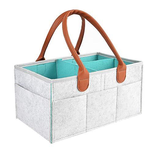 Fltaheroo Organizador portátil para pañales de bebé, organizador de viaje de coche, color gris y azul