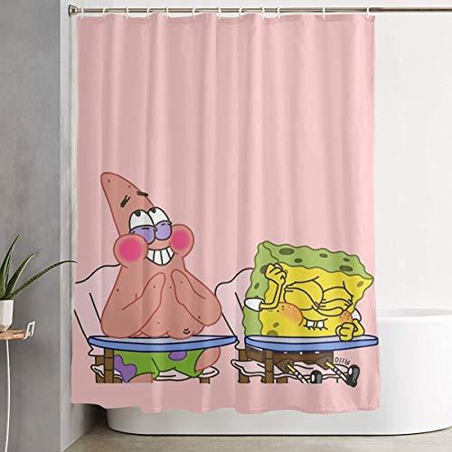 Meirdre Stylischer Duschvorhang Spongebob Schwammkopf & Pickstar Druck Wasserdicht Badezimmer Vorhang 152,4 x 182,9 cm