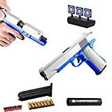 Yikeyuan Upgrade Classic Glock & M1911 Soft Bullet Toy Gun - Shell Ejection Soft Bullet Gun with Moving Target, 1:1 Size Boys Toy Guns with Ejecting Magazine and Silencer (M1911 Blue)