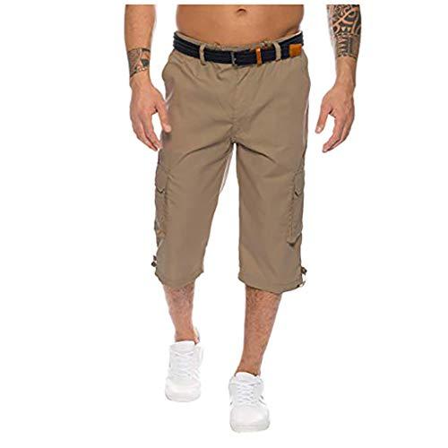 Alaso Homme Shorts Cargo Pantacourt Bermuda Pantalons Court Multi Poches Loisirs 3/4 Short Casual Eté M-3XL