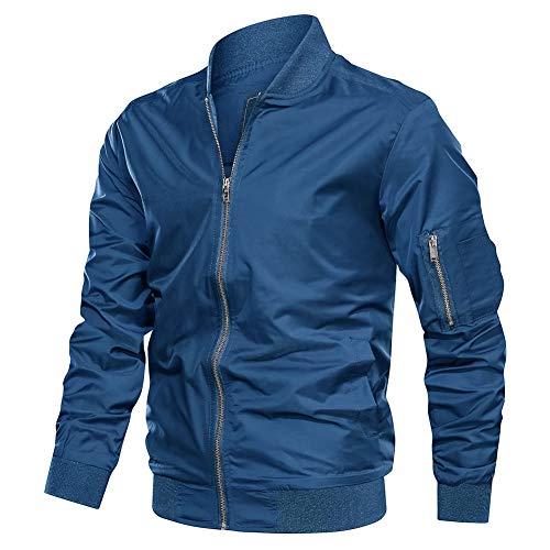 TACVASEN Herren Sommer Jacket Blouson Freizeitjacke Herbstjacke Frühlingsjacke Windjacke College Pilotenjacke, Blau