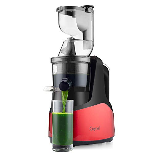 "Caynel Slow Masticating Juicer Cold Press Extractor with 3"" Wide Chute for Fruits, Vegetables and Herbs, Quiet Durable Motor with Reverse Function, Easy Cleaning High Yield Vertical Juicer, Tritan Material Non-toxic, BPA Free"