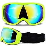 大人のスノーボードスキーゴーグル抗霧UV400スキーサングラスオフロードメッキメガネヘルメットマスクマスク男性女性、グリーンフレーム