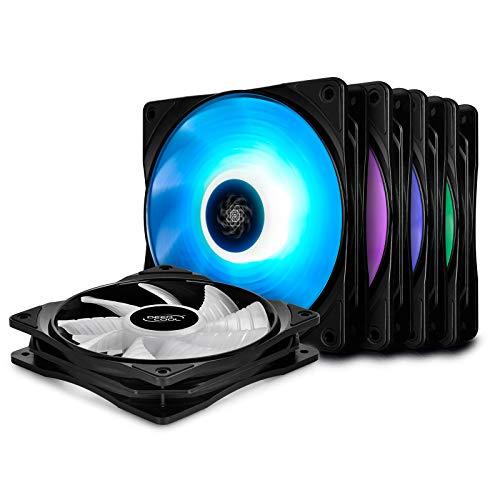 DEEP COOL RF120 Ventilador para Ordenador/Refrigerador, 5x120mm RGB PWM Ventiladores de Caja, Incluye 2 Hubs,Sin Controlador de Cable,Compatible para Placa con RGB Puerto de 12V 4 Pines