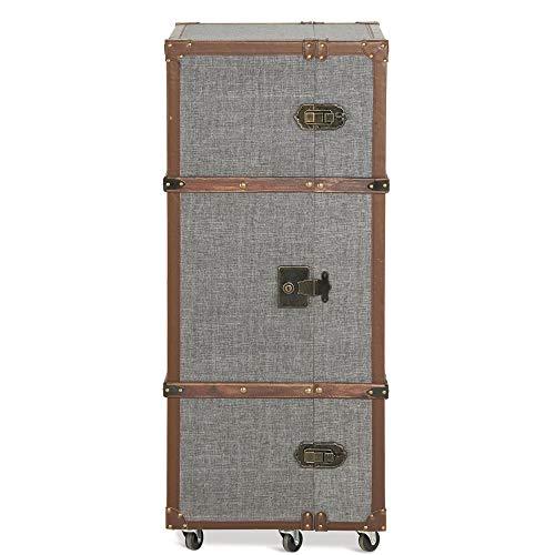Homy Barschrank Koffer auf Rollen Holz 117cm hoch Grau Stoffbezug Weinregal Schubladen - Dandy