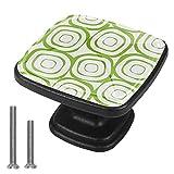 Tiradores de cajón con forma de círculo verde, tiradores de cristal para gabinete con tornillos para gabinete, hogar, oficina, armario (4 piezas)
