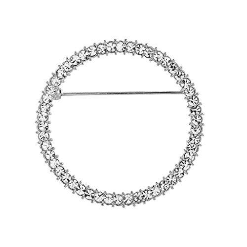 Desconocido Moregirl Cristales Redondos Soporte para Gafas Broche Soporte para Gafas de Lectura Broche de diseño Simple de Moda Pines para Mujer joyería de Moda