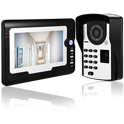 ZCZZ Videoportero de 7 Pulgadas Intercomunicador con Cable - Videoportero RFID Teléfono Intercomunicador Timbre táctil, Kit de Timbre Contraseña Desbloqueo de Huellas Dactilares (Reino Unido)