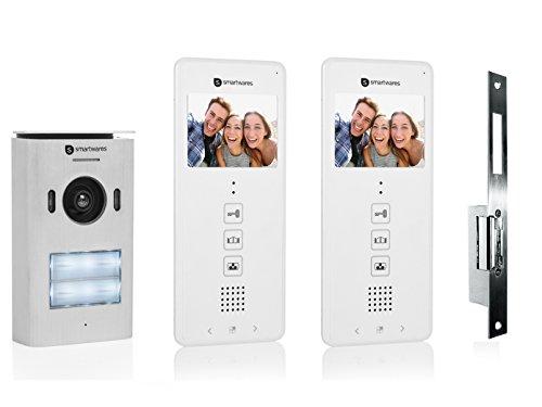 Set: Tweeparige video-intercom + elektrische opener voor deuren die wijd openen.