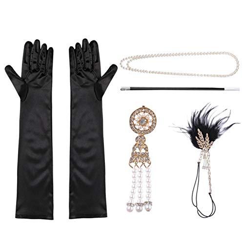 iEFiEL 5 Piezas 1920s Años 20 Set de Accesorios Disfraz Diadema de Plumas Collar de Perlas Pendientes Guantes Negros Largos Porta Cigarrillos Accesorios para Mujeres Women Negro One Size