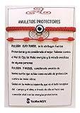SabelAX Pulsera Roja 7 Nudos y Pulsera Ojo Turco, Hilo Rojo, Amuleto Buena Suerte, Proteccion Mal de Ojo, Para Mujer, Hombre y para Parejas, Pulsera Kabbalah, 2 piezas. (pulsera ojo turco roja)