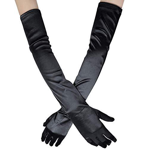 Guante largo negro blanco Guantes de Satén Mujer Vintage Guantes hasta los Codos Novia Accesorios Guantes Largos para Boda Fiesta Accesorios (52cm-negro)