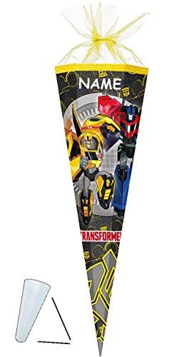 alles-meine.de GmbH Schultüte -  Transformers - Robots  - 35 cm - rund - incl. Namen - mit Tüllabschluß - Zuckertüte - mit / ohne Kunststoff Spitze - für Jungen - Transformer /..