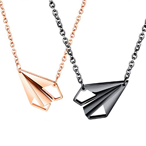Hottime Gay Necklace,His Hers Couple Matching Necklace Set Titanium Stainless Steel Paper Aircraft Pendant 2PCS Necklaces Korean Love Style Friendship Birthday Gift Black and Golden Color