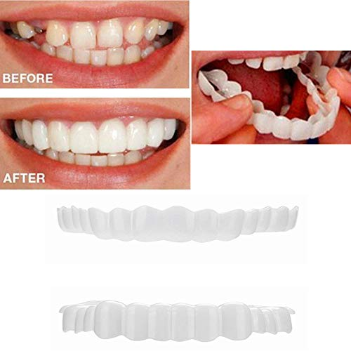XILALU 1 Pair Simulation Teeth, Upper&Lower Temporary Smile Comfort Fit Cosmetic Teeth Comfortable Cosmetic Sticker Veneer Denture Care (1 Pair, White)